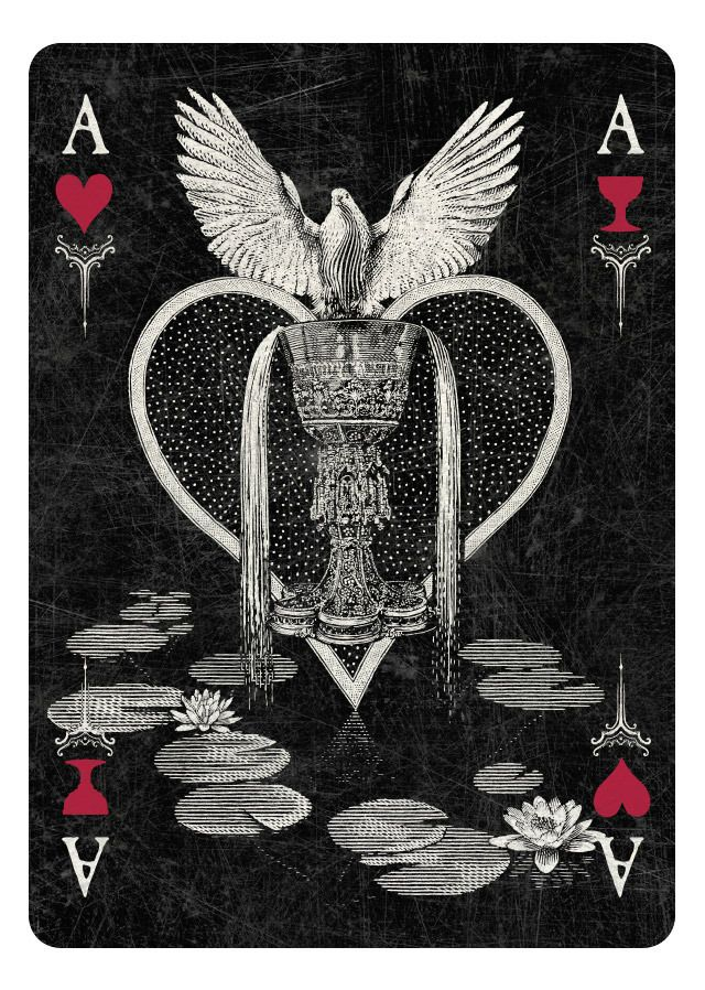 ARCANA Playing Cards by Chris Ovdiyenko - Kickstarter.  Ace of Hearts/Cups  - dark version.  GET YOUR DECKS/PRINTS ON KICKSTARTER NOW!