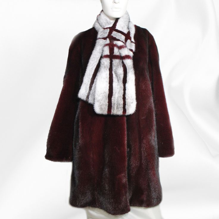 Burgundy mink fur coat and a white scarf with stripes looks lovely!