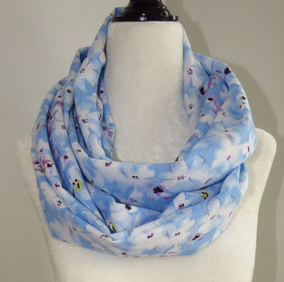 White Flowered Blue Infinity Scarf Infinity Scarf by MelyndaSwan
