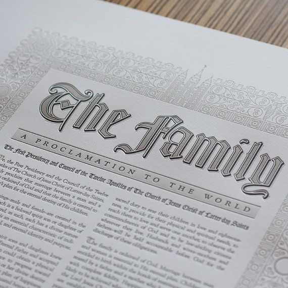 Family Proclamation Letterpress Poster by Athenaeum on Etsy