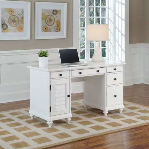 home styles furniture naples white pedestal desk - White Desk