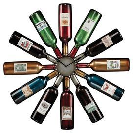 """Add bright vineyard-inspired style to your kitchen or dining room with this eclectic wall clock, showcasing a silhouette of gathered wine bottles.   Product: Wall clockConstruction Material: MetalColor: MultiDimensions: 29.5"""" Diameter"""