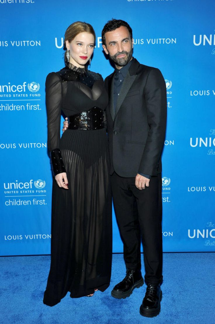 Léa Seydoux and Nicolas Ghesquiere in Louis Vuitton. Photo: Donato Sardella/Getty Images.