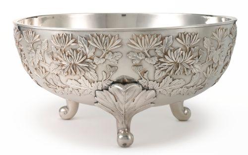Japanese Silver Punch Bowl, Eigyku circa 1900.