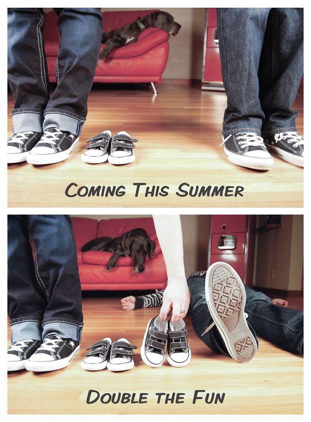 """""""Llegando este verano… el doble de diversión"""" http://tipsdemadre.com/formas-de-anunciar-que-estas-embarazada-de-gemelos/"""