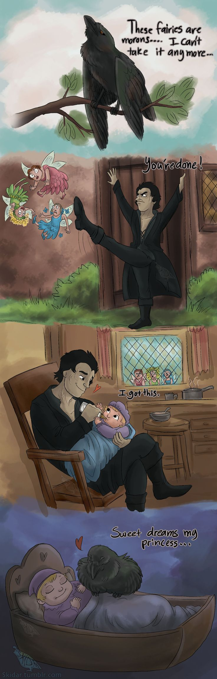Uncle Diaval by Ski-Machine.deviantart.com on @deviantART | ahhh so cute, seriously this should have happened. Kick those idiots to the curb