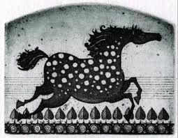 etching of horse