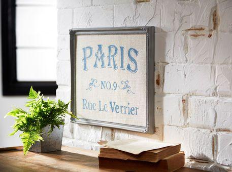 Toile de jute avec pochoir de Paris encadrée