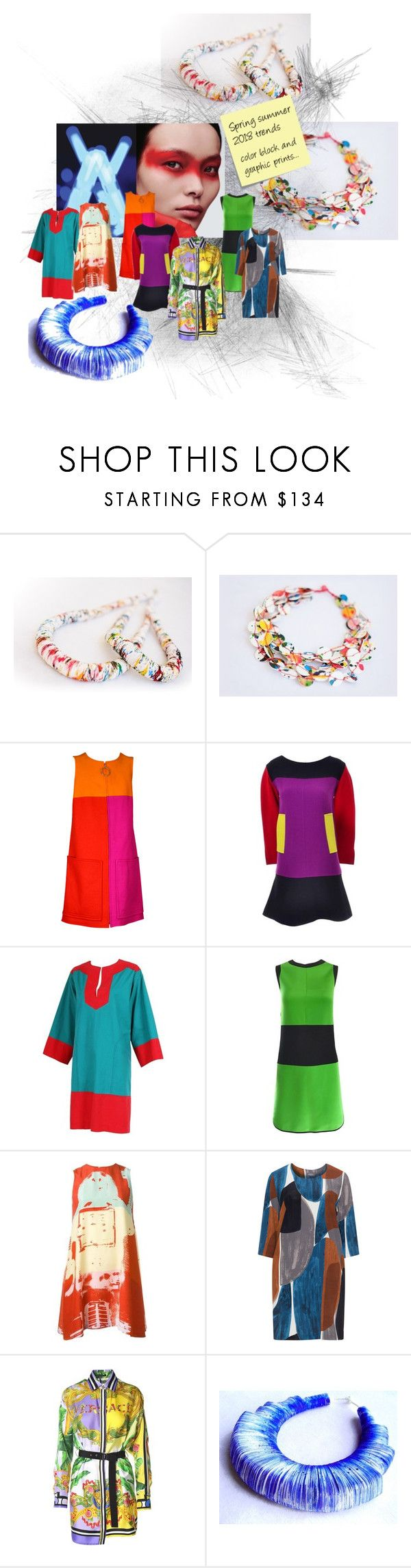 """""""Spring Summer 2018 Trends"""" by renterodesigns on Polyvore featuring moda, Christian Lacroix, Yves Saint Laurent, Stephen Sprouse, Samoon, Versace y Post-It"""