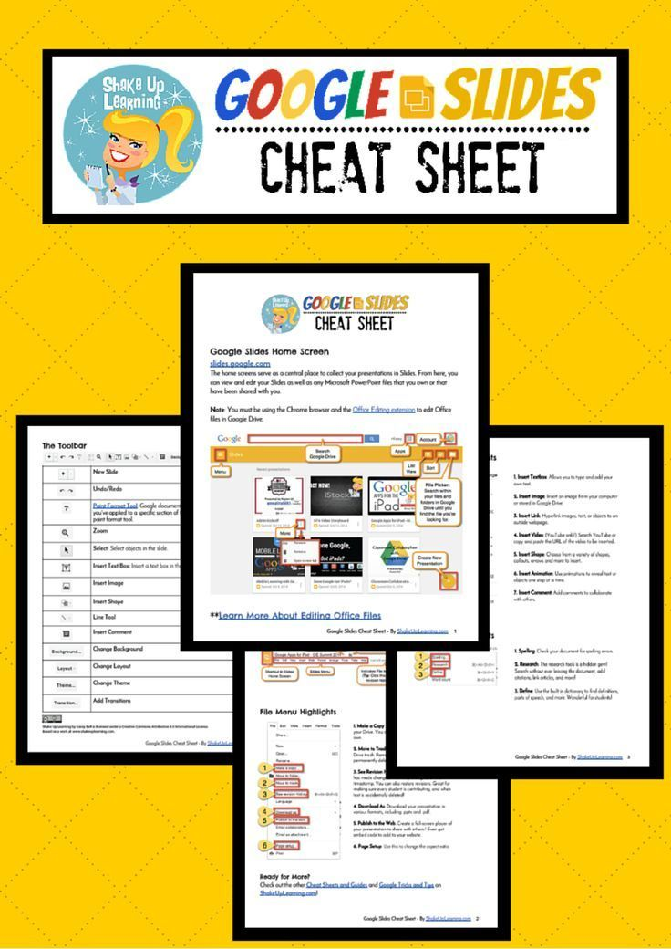 Google Slides Cheat Sheet for Teachers and Students ...
