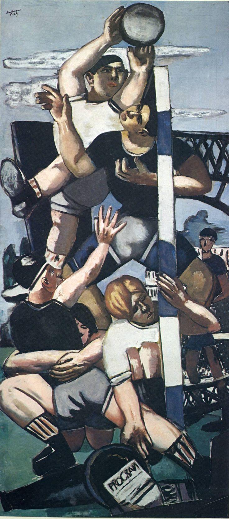 Max Beckmann ~ Rugbyspelers ~ 1929 ~ Olieverf op doek ~ Wilhelm Lehmbruckmuseum, Duisburg ~ © DACS, 2016
