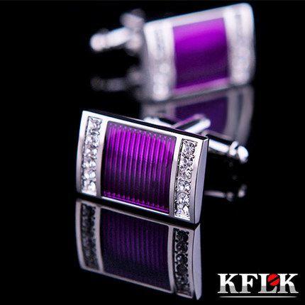 Barato Kflk jóias camisa abotoaduras de casamento para homens abotoaduras abotoaduras de alta qualidade roxo de cristal marca de jóias, Compro Qualidade   diretamente de fornecedores da China: