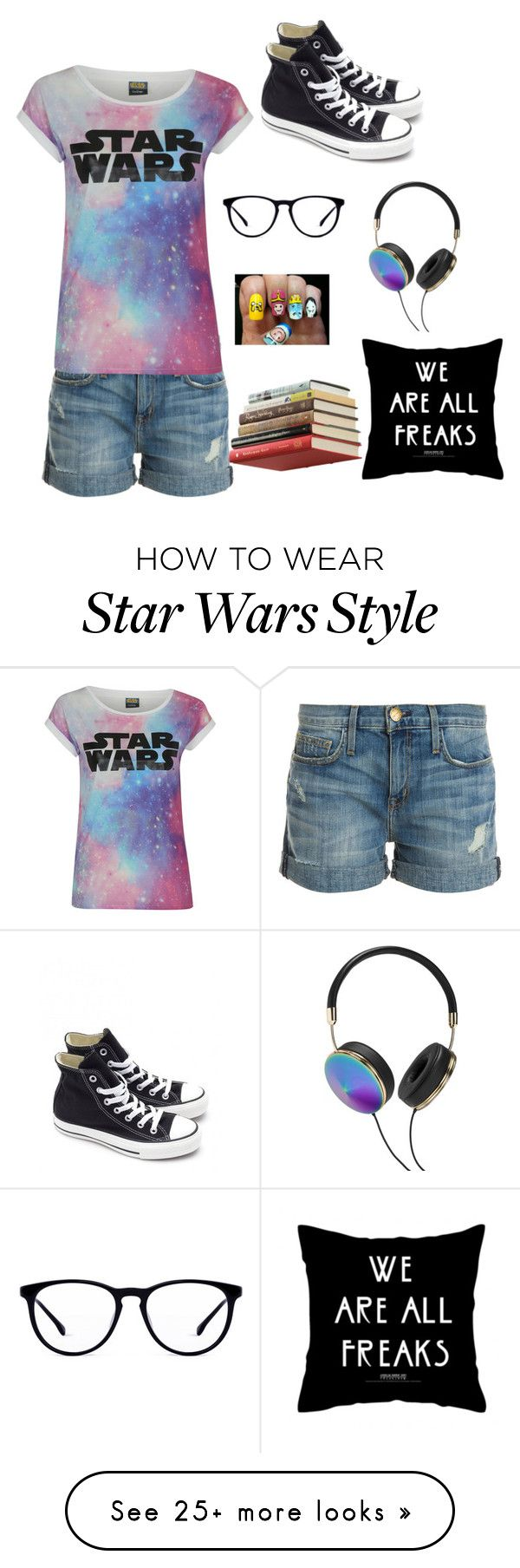 """""""Embrace your inner geek"""" by katrinaharding on Polyvore featuring Current/Elliott, Converse, Frends and Umbra"""
