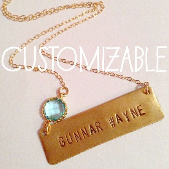 TWO WORD Custom Personalized Brass Nameplate Layering Bar Morhers Day Valentines Wedding Name Necklace