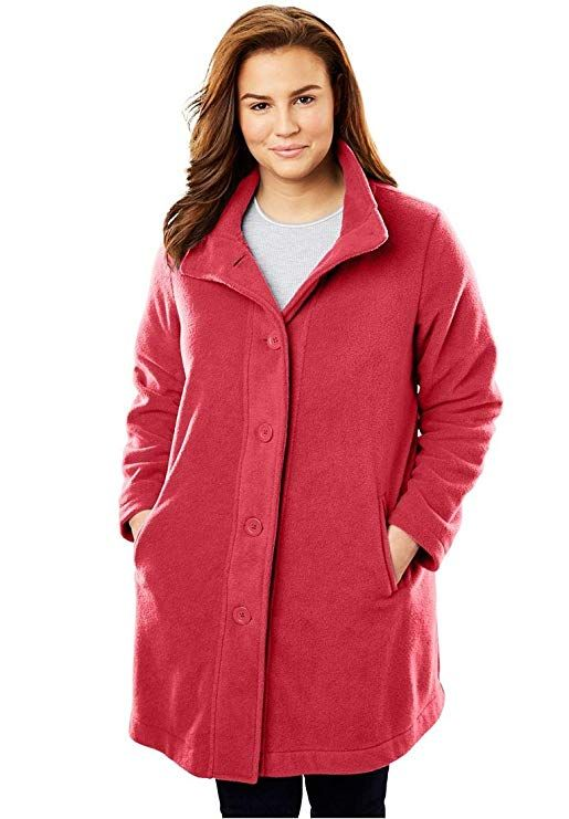 f6e48621612 Woman Within Plus Size Fleece Swing Funnel-Neck Jacket - Fresh Red ...