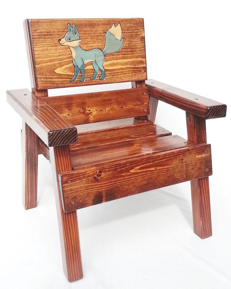 Childrens Country Wood Folk Art Chair, Kids Indoor/Outdoor Patio Furniture,  Toddler+ Boy