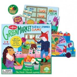 Green Market Puzzle Spinner Game - Educational Toys Planet. Great gift for 3 years old child. Spin, sort, match, and fill up your farm market stand with fresh looking products to win this fun preschool game by eeBoo! Develops Skills - matching skill, visual perception, critical reasoning, manipulative skills, social skills. #toys #learning #educational #gifts #child https://www.educationaltoysplanet.com/green-market-puzzle-spinner-game.html