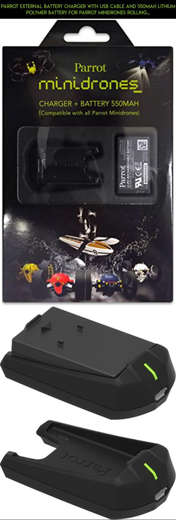 Parrot External Battery Charger with USB Cable and 550mAh Lithium Polymer Battery for Parrot MiniDrones Rolling Spider and Jumping Sumo #camera #parrot #battery #kit #parts #plans #drone #tech #drone #technology #products #shopping #racing #gadgets #fpv