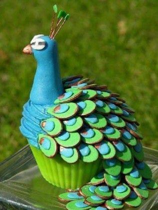 cupcakes de pavo real