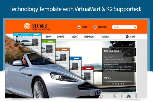 SJ Cars Template - a great template that can be applied to different types of e-shop from agriculture to industry or service.