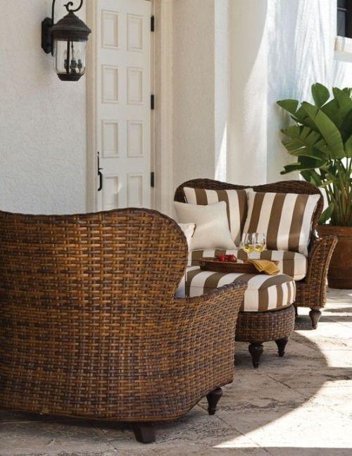 Farmhouse Fresh Striped Cushions on Rattan Outdoor Furniture