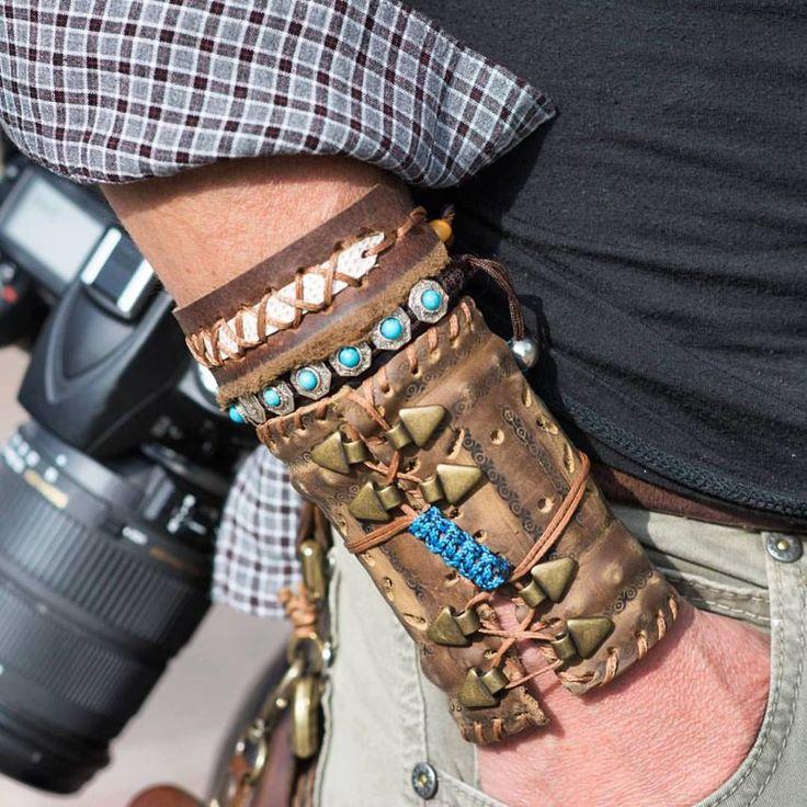 bracciale a fascia - medievale - Medio Evo - pelle lavorata a mano -  Alepiller…