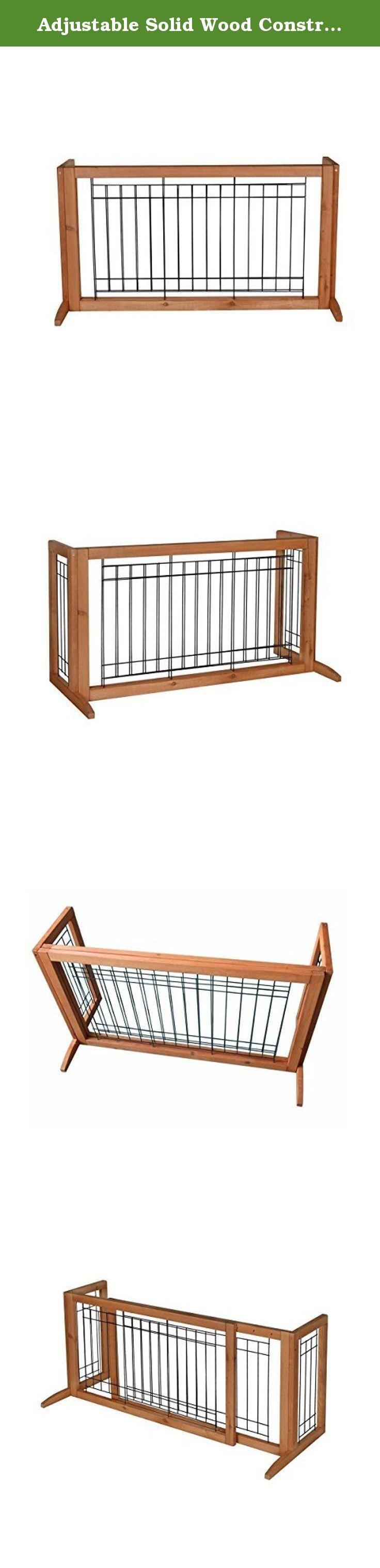 Adjustable Solid Wood Construction Freestanding Pet Gate