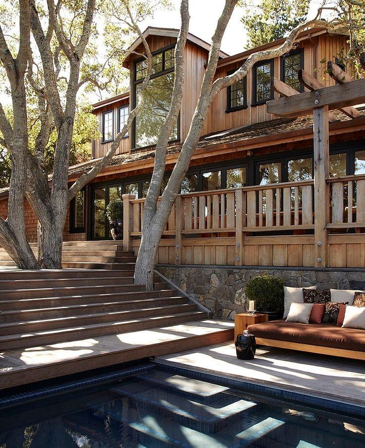 Windows everywhere!  Wood Deck!  Pool side couch!  Love!! Mill Valley House by Urrutia Design   #livinginmillvalley #millvalleycalifornia #realestateofmarincounty