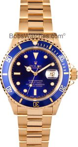 Rolex Submariner Blue Dial 18k Gold 16618
