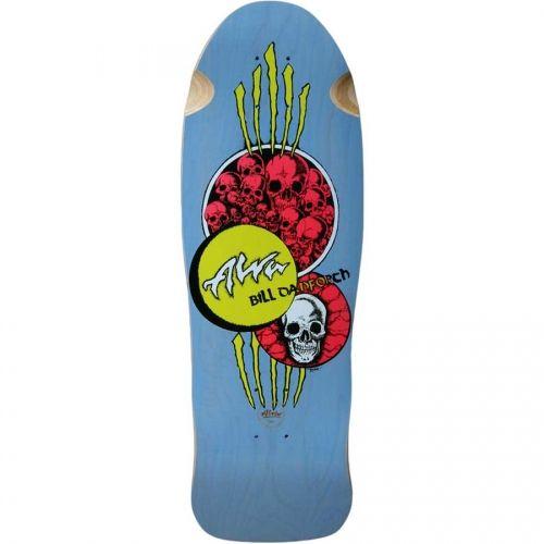 Alva Skateboards <br> Alva Bill Danforth Circle Of Skulls Production Model Re-Issue Deck <br> Light Blue 10x30