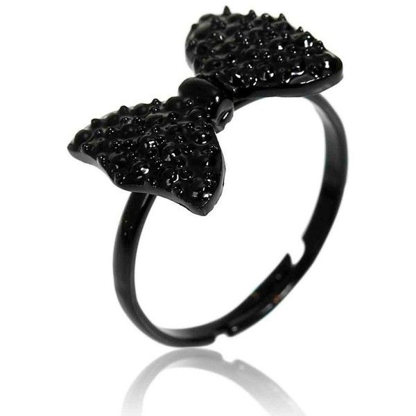 Adjustable Black Bowknot Rhinestone Finger Ring found on Polyvore featuring jewelry, rings, accessories, white, rhinestone rings, white ring, rhinestone jewelry, white jewelry and adjustable rings