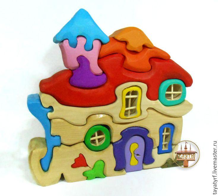 Купить Дом гнома - комбинированный, модерн, домик, пазлы из дерева, Пазл, дерево