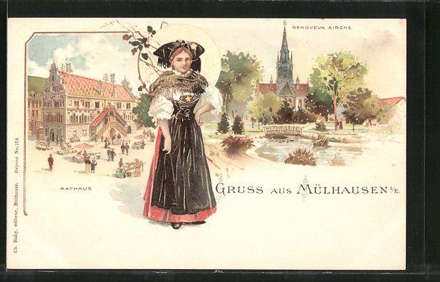 carte postale ancienne: Lithographie Mülhausen, Genoveva l'Église, Hôtel de Ville, femme en costume typique