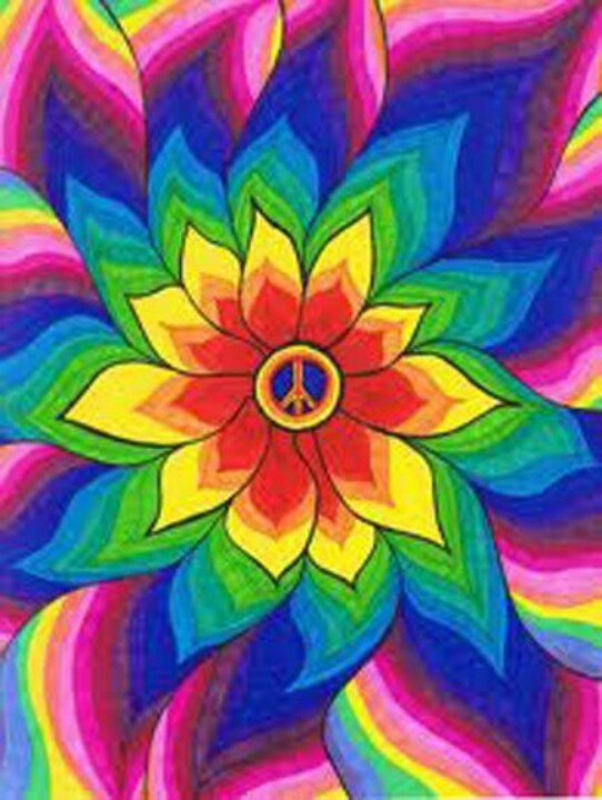 ॐ American Hippie Psychedelic Peace Sign Flower | ☮ Art ...