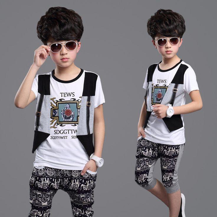 2015 new children's clothing cartoon baby set t shirt + pants+vest sport suits summer style kids clothes set+boy clothing