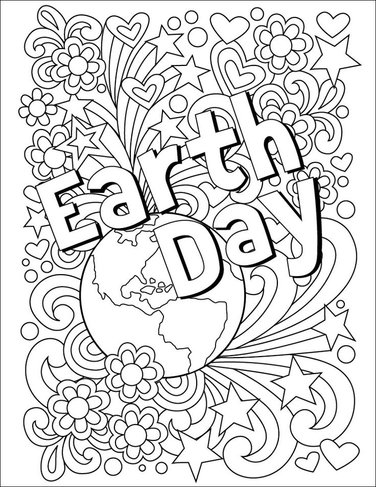 Free earth day printable coloring page for adults or kids free holiday coloring pages for adults or classrooms or physical therapy of fine motor skills