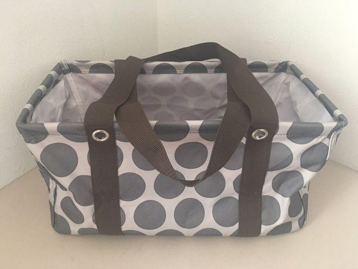 Thirty One MOD DOT Medium Utility Tote Grey Gray Brown Polka Storage Bag Retired #ThirtyOne