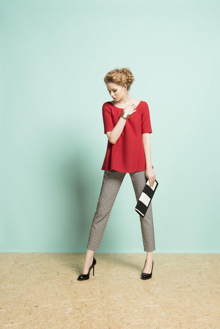 Kolekcja wiosna/lato 2014 #moda #kolekcja #lato #wiosna #wiosna-lato 2014 #SS2014 #danhen #lookbook #czerwień #bieliczerń #spodnie #wiosenna stylizacja