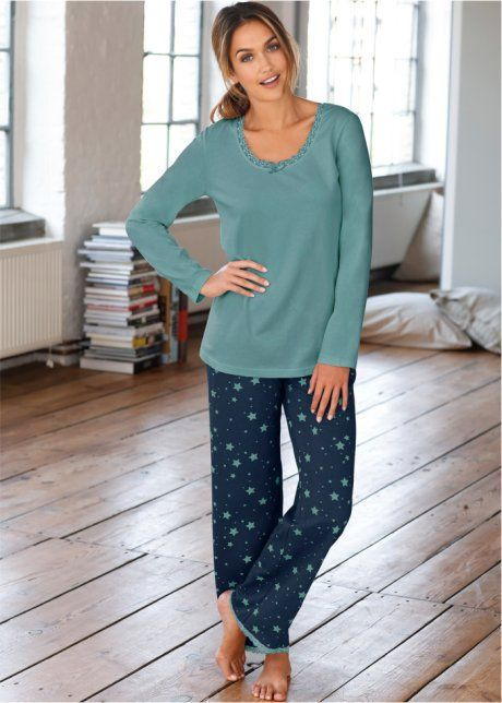 Пижама, bpc bonprix collection, сине-зеленый/темно-синий с рисунком