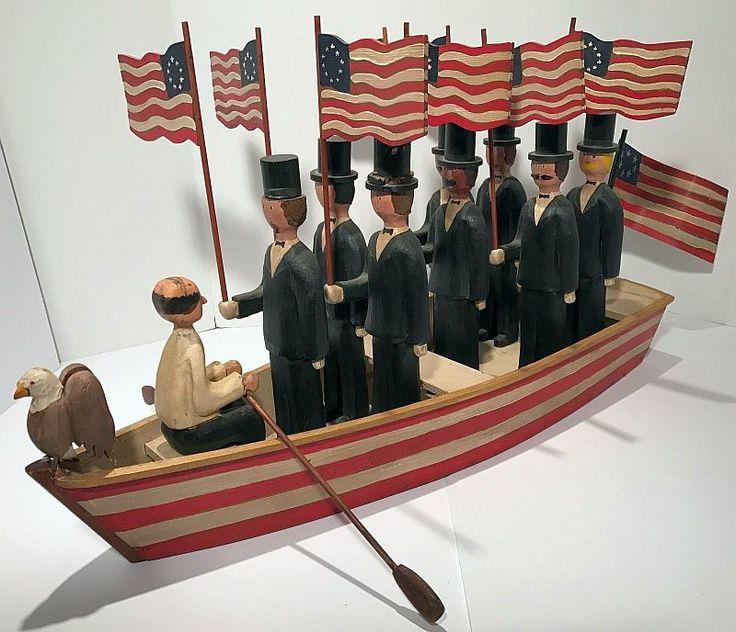 Magnificent WWII Era Patriotic Red, White & Blue CARVED AMERICAN FOLK ART ROW BOAT.