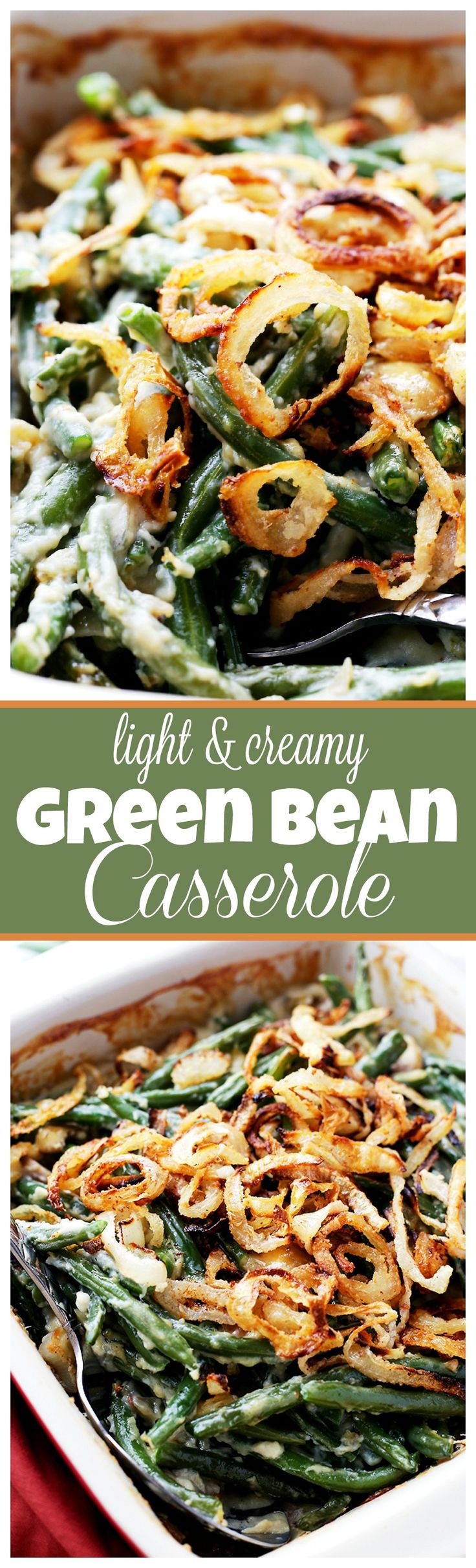 Lightened-Up Creamy Green Bean Casserole - A delicious and creamy lightened-up version of everyone's favorite Thanksgiving green beans side dish made with fresh ingredients, and without the canned processed creams.: