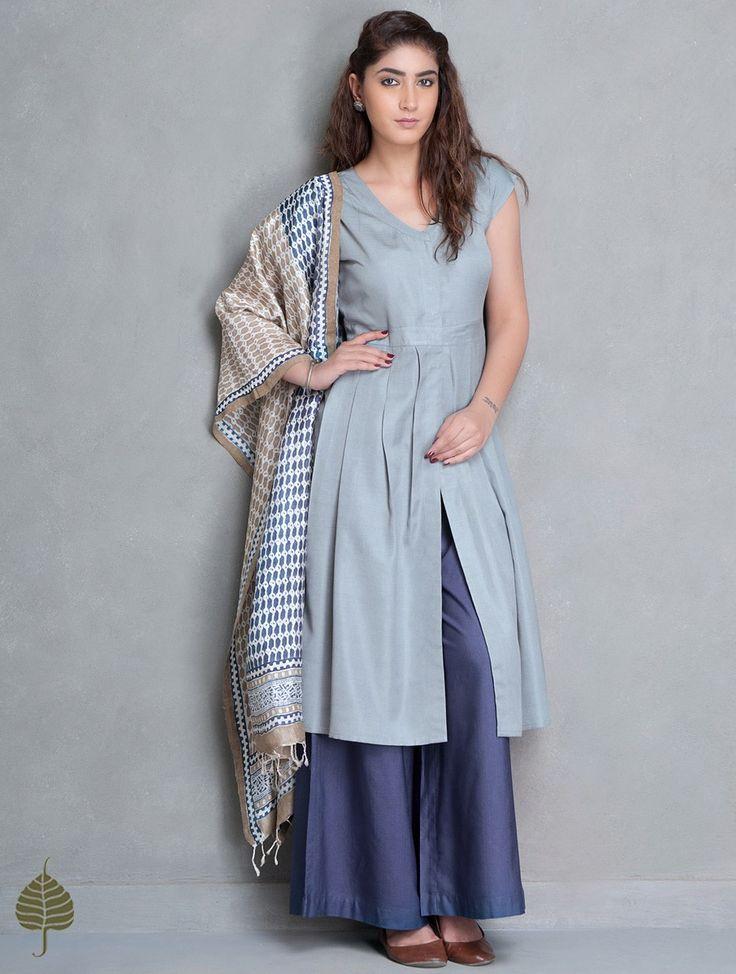Buy Grey Natural Dye Tussar Munga Pleated Kurta by Jaypore Online at Jaypore.com