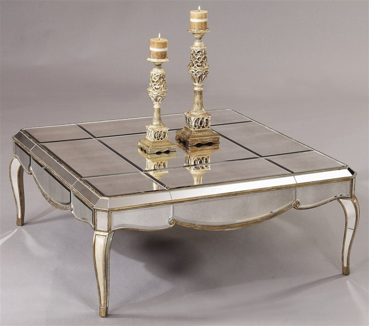 Bassett mirror square mirrored cocktail table in gold