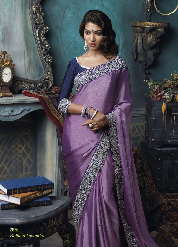 Satin Chiffon material lite purple color saree with broad dark purple embroidered border