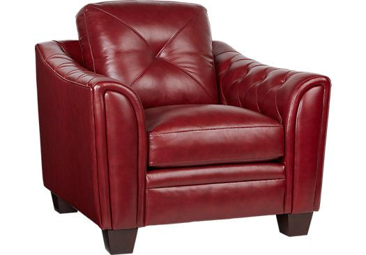 Cindy Crawford Home Marcella Red Leather Chair . $699.99. 40W x 39D x 36H. Find affordable Chairs for your home that will complement the rest of your furniture.