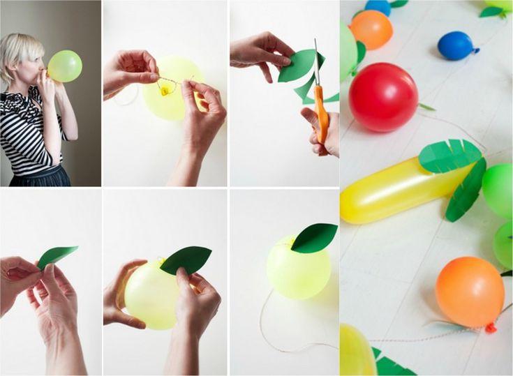 Zitrusfrüchte aus Luftballons selber machen - Faschingsgirlanden