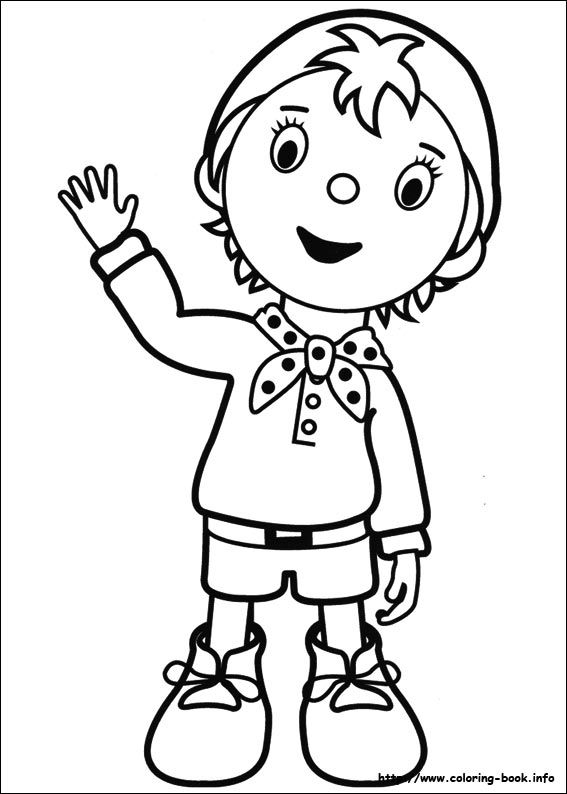 Noddy coloring picture | Coloring books, Easy cartoon drawings