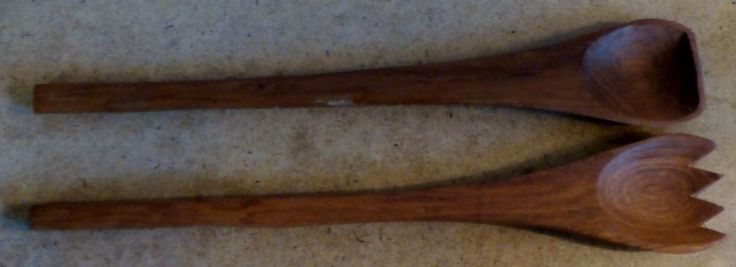 Vintage  Goodwood Teak Wooden Salad Serving Utensils Matched Set Excellent #MidCentury #GOODWOOD