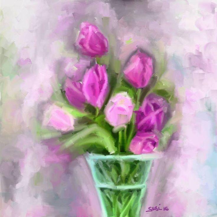 "Saatchi Art Artist Susi Cahyani; Painting, ""Tulip"" #art"