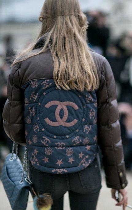 Paris Fashion Week street style: Chanel logo down jacket: